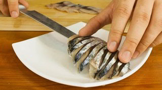 Mackerel Sashimi Made From Whole Fish