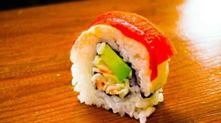 Paprika sushi roll - how to roll sushi