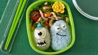 How to Make Monsters University Bento Lunch Box (The School of Scaring) Recipe モンスターズ・ユニバーシティ キャラ弁