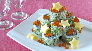 How to Make Christmas Tree Alaska Rolls (Cooked Salmon and Avocado) クリスマスツリー アラスカロールの作り方 (レシピ)